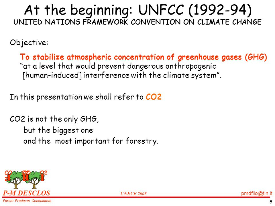 P-M DESCLOS UNECE 2005 pmdfilo@tin.it Forest Products Consultants 5 At the beginning: UNFCC (1992-94) UNITED NATIONS FRAMEWORK CONVENTION ON CLIMATE CHANGE Objective: To stabilize atmospheric concentration of greenhouse gases (GHG) at a level that would prevent dangerous anthropogenic [human-induced] interference with the climate system.