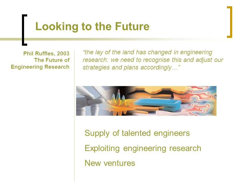 Looking to the Future the lay of the land has changed in engineering research: we need to recognise this and adjust our strategies and plans accordingly… Phil Ruffles, 2003 The Future of Engineering Research Supply of talented engineers Exploiting engineering research New ventures