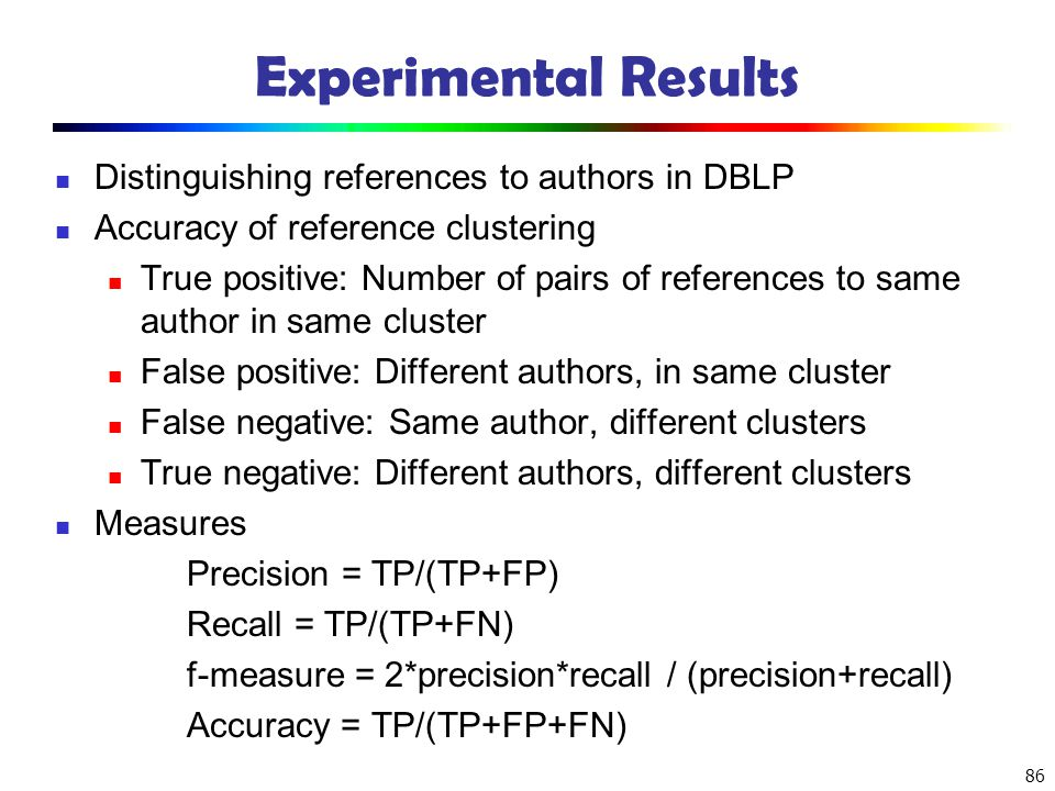 86 Experimental Results Distinguishing references to authors in DBLP Accuracy of reference clustering True positive: Number of pairs of references to