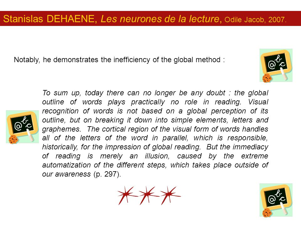 Stanislas DEHAENE, Les neurones de la lecture, Odile Jacob, 2007. Notably, he demonstrates the inefficiency of the global method : To sum up, today th