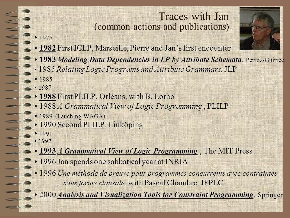 1975 1982 First ICLP, Marseille, Pierre and Jans first encounter 1983 Modeling Data Dependencies in LP by Attribute Schemata, Perroz-Guirrec 1985 Relating Logic Programs and Attribute Grammars, JLP 1985 1987 1988 First PLILP, Orléans, with B.