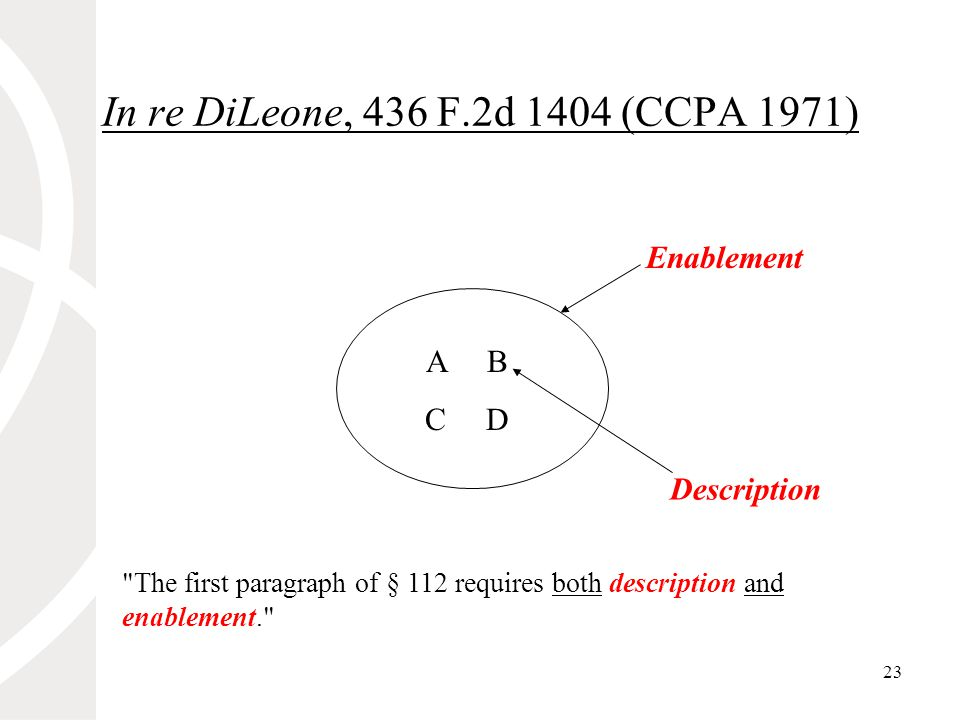 23 In re DiLeone, 436 F.2d 1404 (CCPA 1971) A B C D Enablement Description The first paragraph of § 112 requires both description and enablement.