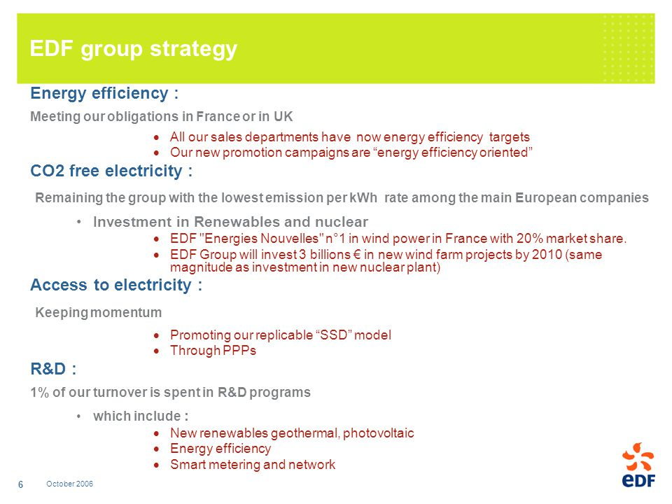 October 2006 6 EDF group strategy Energy efficiency : Meeting our obligations in France or in UK All our sales departments have now energy efficiency