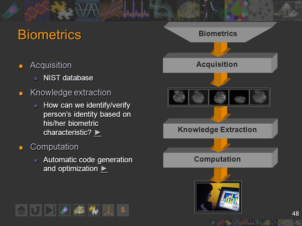 S 48 Biometrics Acquisition Acquisition NIST database NIST database Knowledge extraction Knowledge extraction How can we identify/verify persons identity based on his/her biometric characteristic.