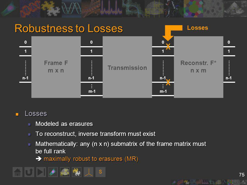 S 75 Robustness to Losses Losses Losses Modeled as erasures Modeled as erasures To reconstruct, inverse transform must exist To reconstruct, inverse transform must exist Mathematically: any (n x n) submatrix of the frame matrix must be full rank maximally robust to erasures (MR) Mathematically: any (n x n) submatrix of the frame matrix must be full rank maximally robust to erasures (MR) 0 1 n-1 Frame F m x n n-1 0 1 Reconstr.