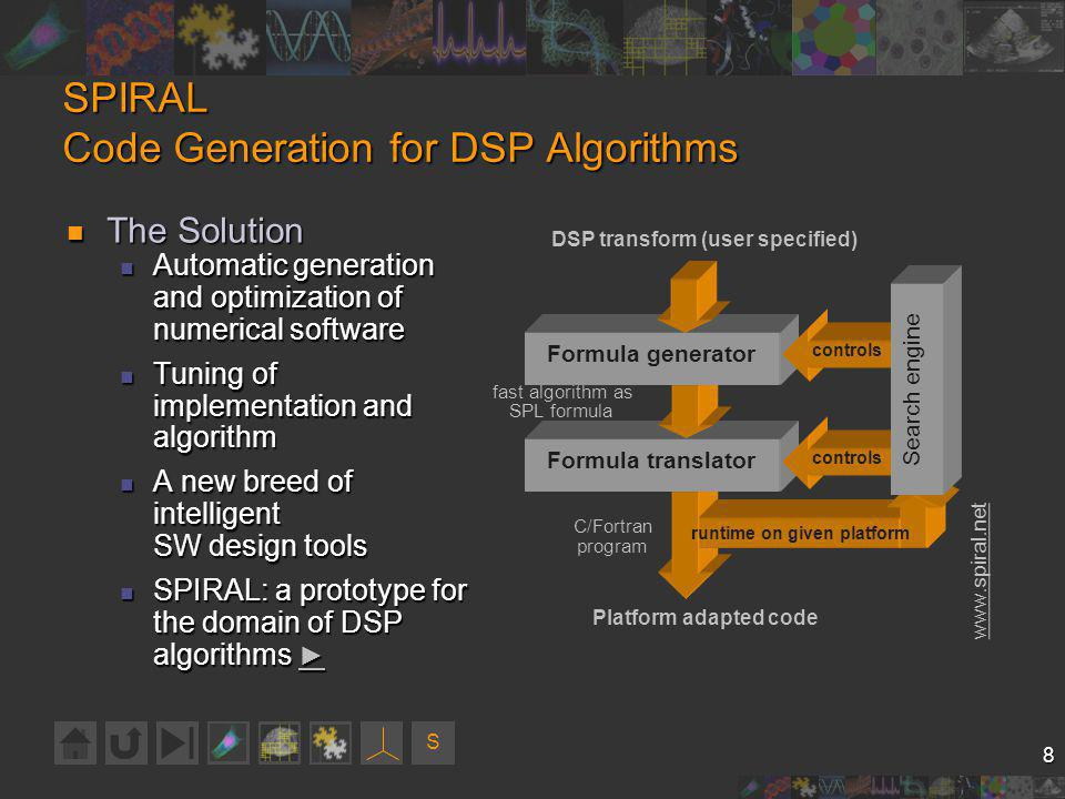 S 8 SPIRAL Code Generation for DSP Algorithms The Solution The Solution Automatic generation and optimization of numerical software Automatic generation and optimization of numerical software Tuning of implementation and algorithm Tuning of implementation and algorithm A new breed of intelligent SW design tools A new breed of intelligent SW design tools SPIRAL: a prototype for the domain of DSP algorithms SPIRAL: a prototype for the domain of DSP algorithms www.spiral.net fast algorithm as SPL formula C/Fortran program DSP transform (user specified) Platform adapted code Formula translator controls runtime on given platform Formula generator controls Search engine