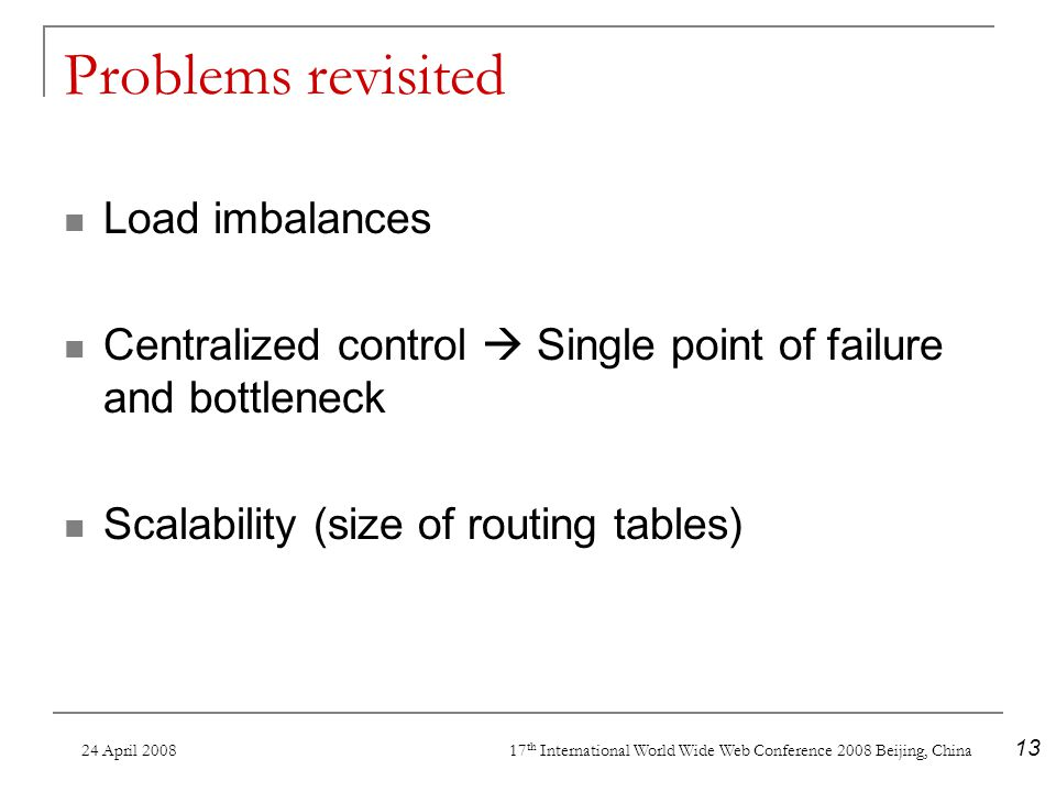 24 April 2008 17 th International World Wide Web Conference 2008 Beijing, China 13 Problems revisited Load imbalances Centralized control Single point of failure and bottleneck Scalability (size of routing tables)