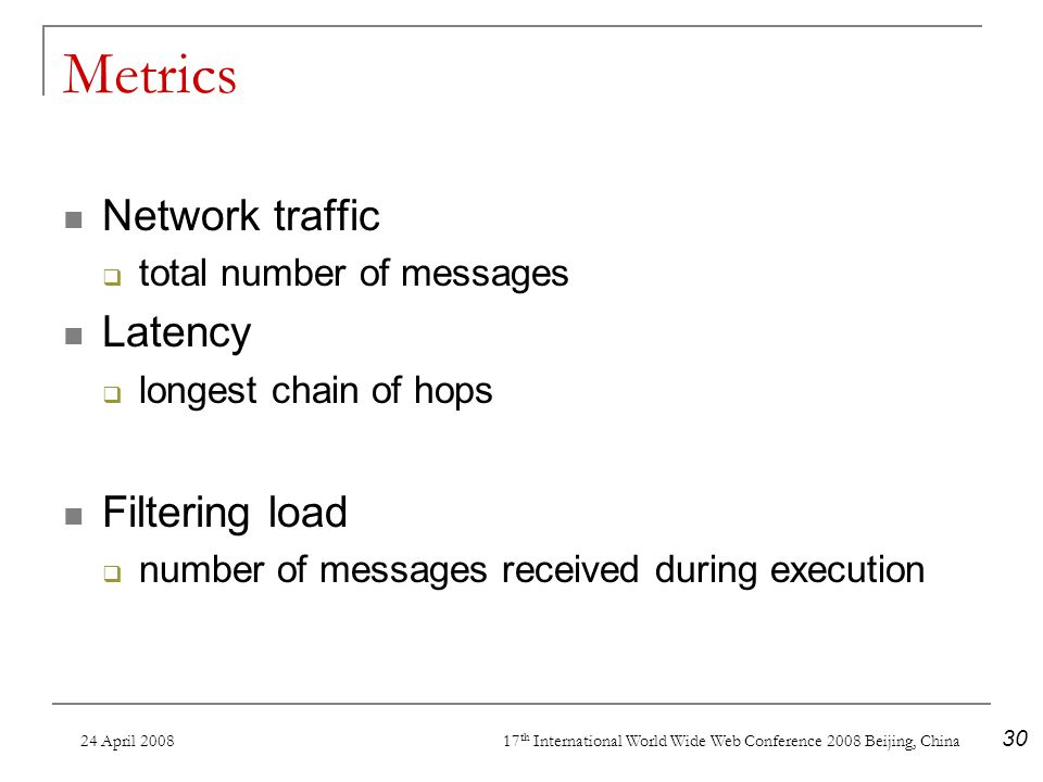 24 April 2008 17 th International World Wide Web Conference 2008 Beijing, China 30 Metrics Network traffic total number of messages Latency longest chain of hops Filtering load number of messages received during execution