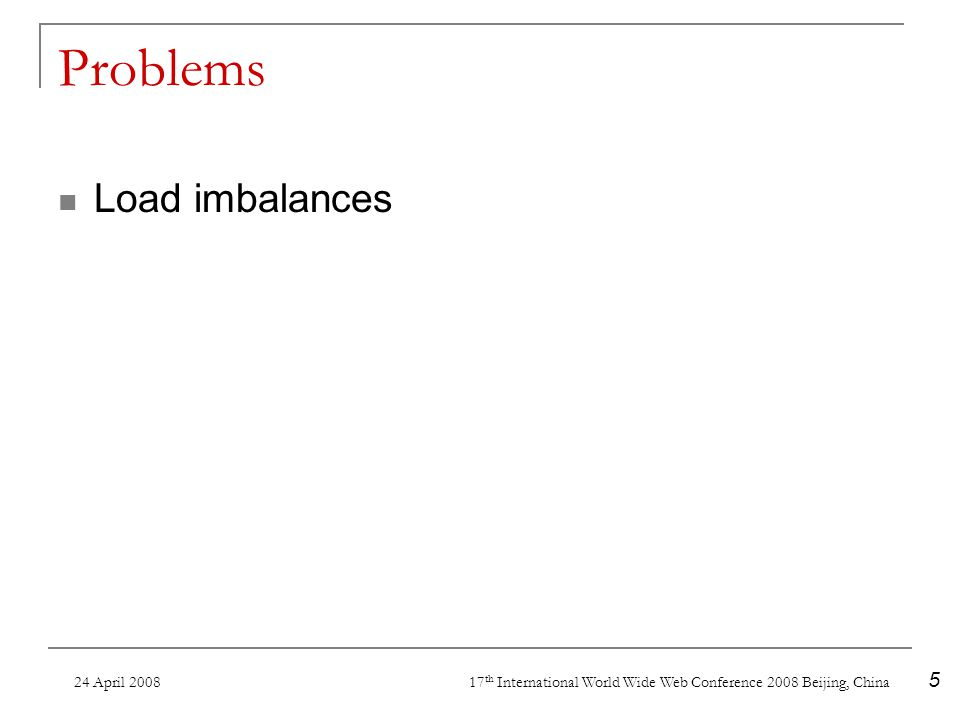 24 April 2008 17 th International World Wide Web Conference 2008 Beijing, China 5 Problems Load imbalances