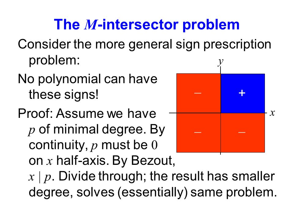 The M -intersector problem Consider the more general sign prescription problem: No polynomial can have these signs.