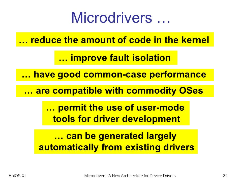 HotOS XIMicrodrivers: A New Architecture for Device Drivers32 Microdrivers … … improve fault isolation … have good common-case performance … are compatible with commodity OSes … reduce the amount of code in the kernel … permit the use of user-mode tools for driver development … can be generated largely automatically from existing drivers