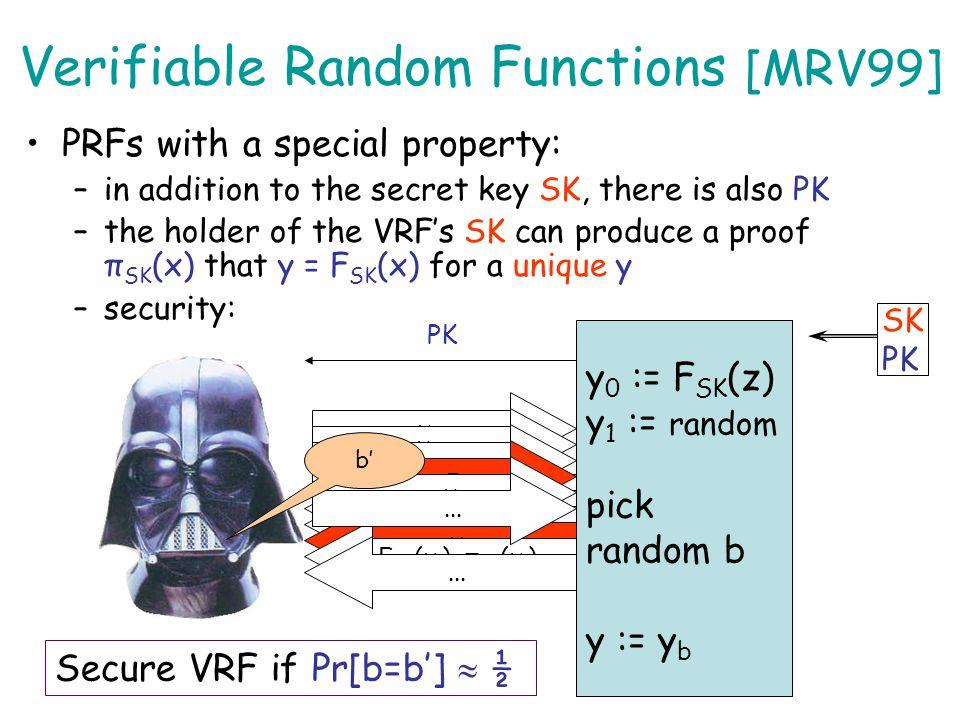 Verifiable Random Functions (VRF) x F SK (x), π SK (x) Semi-TTT Secret SK Public PK Michael is just an efficient and indistinguishable implementation