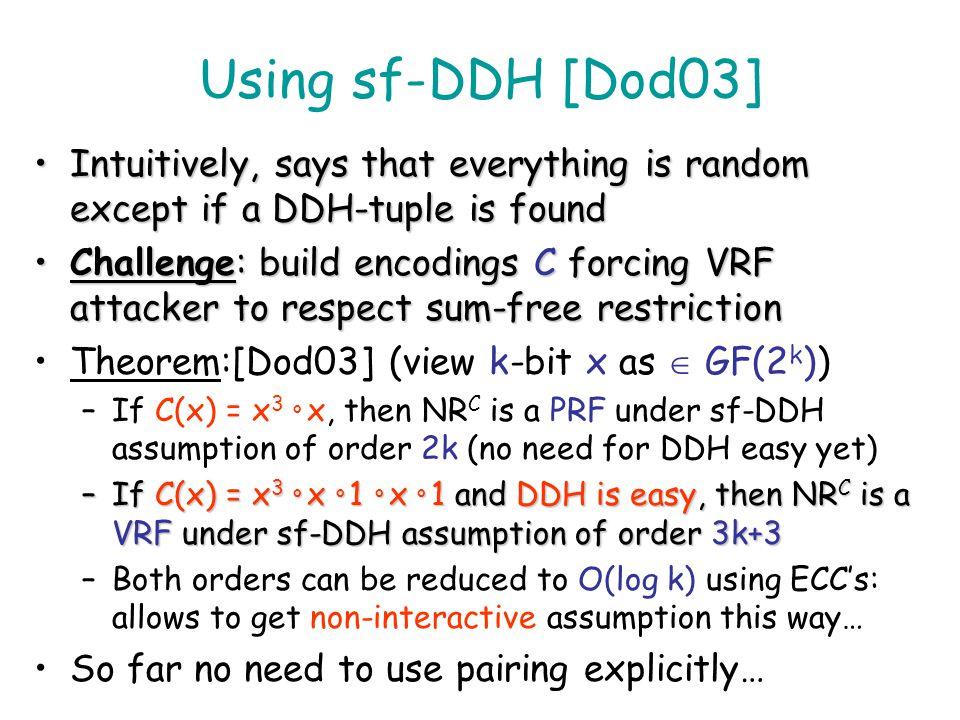 I1I1 Exp(I 1 ) I2I2 Exp(I 2 )... J y I i Exp(I i )... b Pr[b=b] ½ & no J 1,J 2,J 3 {I 1 … I m } exist making [Exp(J), Exp(J 1 ), Exp(J 2 ), Exp(J 3 )]