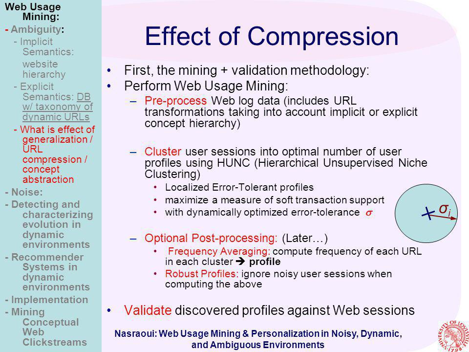 Nasraoui: Web Usage Mining & Personalization in Noisy, Dynamic, and Ambiguous Environments Effect of Compression First, the mining + validation method