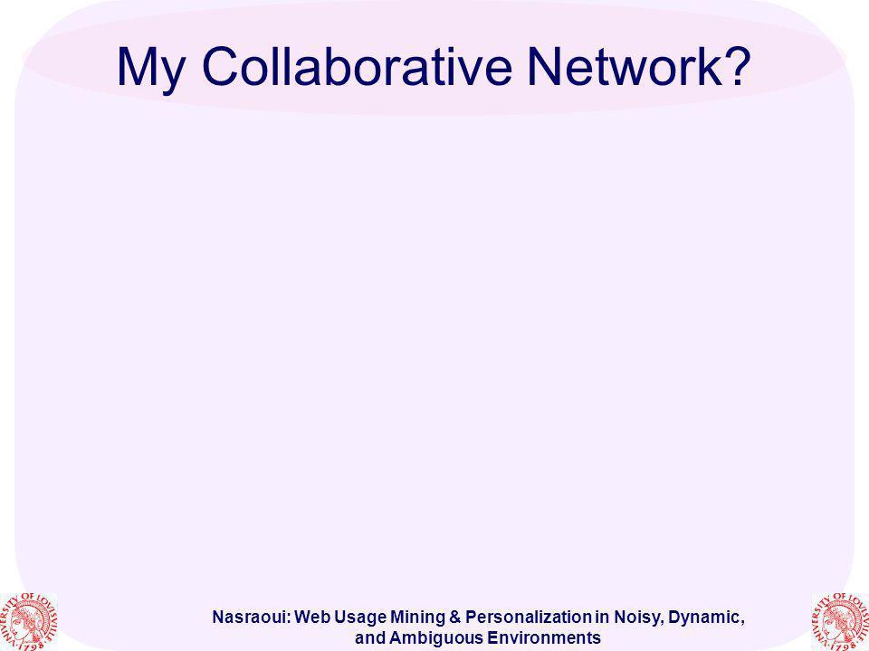 Nasraoui: Web Usage Mining & Personalization in Noisy, Dynamic, and Ambiguous Environments [48] O.