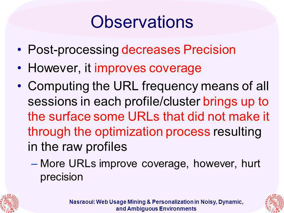 Nasraoui: Web Usage Mining & Personalization in Noisy, Dynamic, and Ambiguous Environments Observations Post-processing decreases Precision However, i