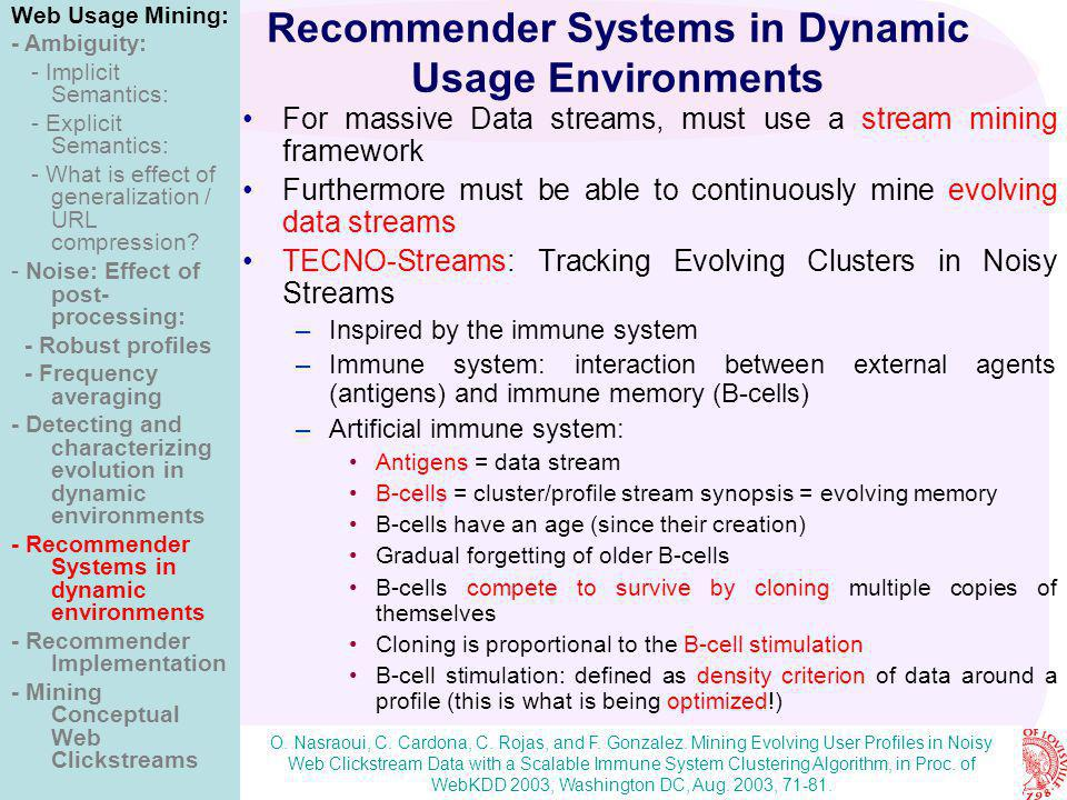 Nasraoui: Web Usage Mining & Personalization in Noisy, Dynamic, and Ambiguous Environments Recommender Systems in Dynamic Usage Environments For massi
