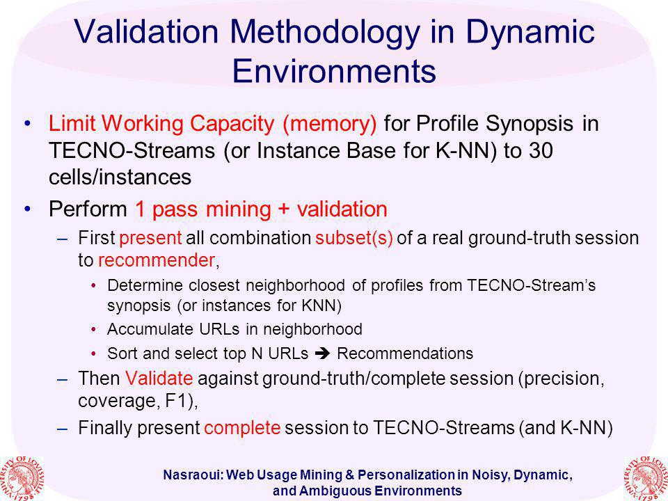 Nasraoui: Web Usage Mining & Personalization in Noisy, Dynamic, and Ambiguous Environments Validation Methodology in Dynamic Environments Limit Workin