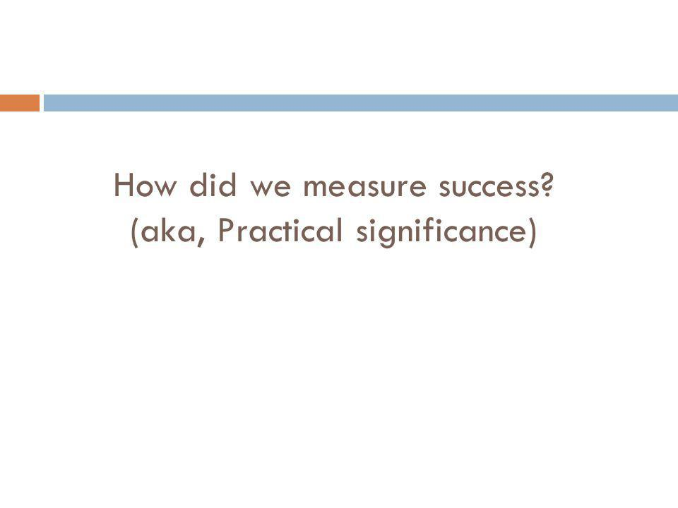 How did we measure success (aka, Practical significance)