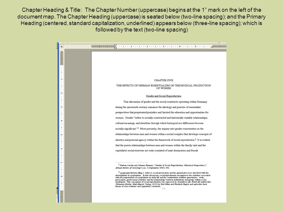 Chapter Heading & Title: The Chapter Number (uppercase) begins at the 1 mark on the left of the document map.
