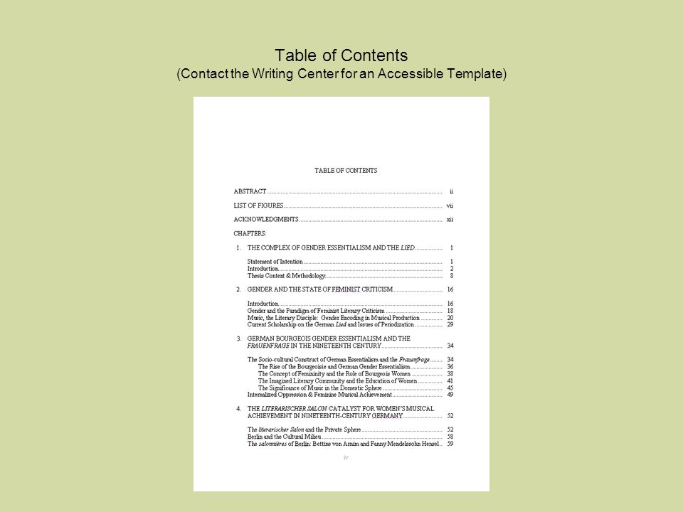 Table of Contents (Contact the Writing Center for an Accessible Template)