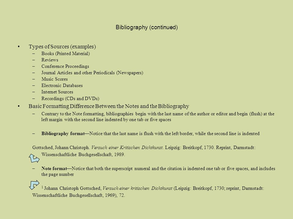 Bibliography (continued) Types of Sources (examples) –Books (Printed Material) –Reviews –Conference Proceedings –Journal Articles and other Periodical