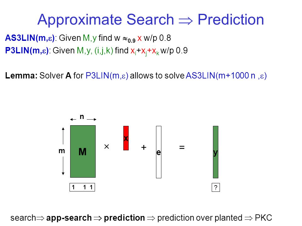 Approximate Search Prediction AS3LIN(m, ): Given M,y find w 0.9 x w/p 0.8 P3LIN(m, ): Given M,y, (i,j,k) find x i +x j +x k w/p 0.9 Lemma: Solver A for P3LIN(m, ) allows to solve AS3LIN(m+1000 n, ) y M x += e m n 1 1 1 .