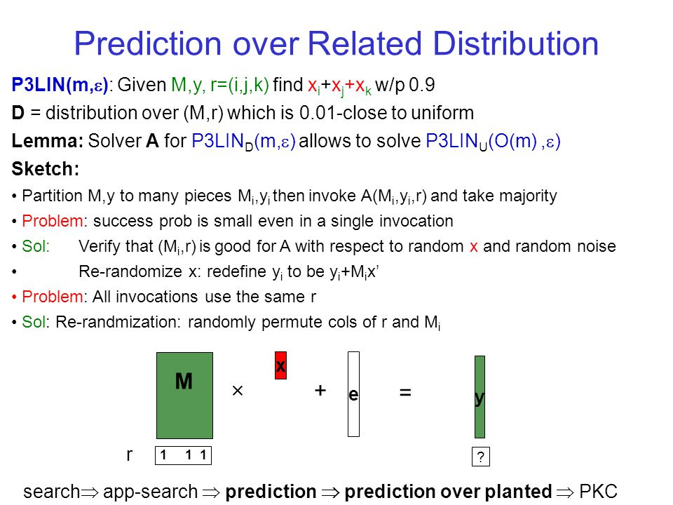 Prediction over Related Distribution P3LIN(m, ): Given M,y, r=(i,j,k) find x i +x j +x k w/p 0.9 D = distribution over (M,r) which is 0.01-close to uniform Lemma: Solver A for P3LIN D (m, ) allows to solve P3LIN U (O(m), ) Sketch: Partition M,y to many pieces M i,y i then invoke A(M i,y i,r) and take majority Problem: success prob is small even in a single invocation Sol: Verify that (M i,r) is good for A with respect to random x and random noise Re-randomize x: redefine y i to be y i +M i x Problem: All invocations use the same r Sol: Re-randmization: randomly permute cols of r and M i y M x + = e 1 1 1 .
