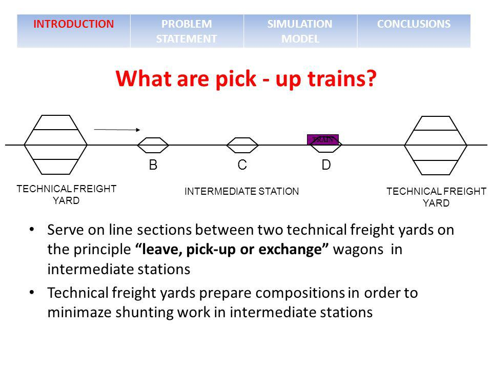 INTRODUCTIONPROBLEM STATEMENT SIMULATION MODEL CONCLUSIONS TRAIN INTERMEDIATE STATION B C D TECHNICAL FREIGHT YARD What are pick - up trains? TECHNICA