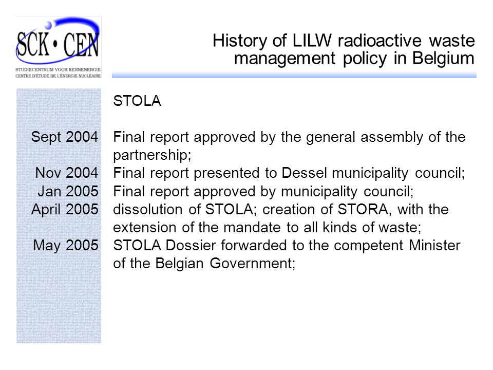 History of LILW radioactive waste management policy in Belgium STOLA Sept 2004Final report approved by the general assembly of the partnership; Nov 2004Final report presented to Dessel municipality council; Jan 2005Final report approved by municipality council; April 2005dissolution of STOLA; creation of STORA, with the extension of the mandate to all kinds of waste; May 2005STOLA Dossier forwarded to the competent Minister of the Belgian Government;