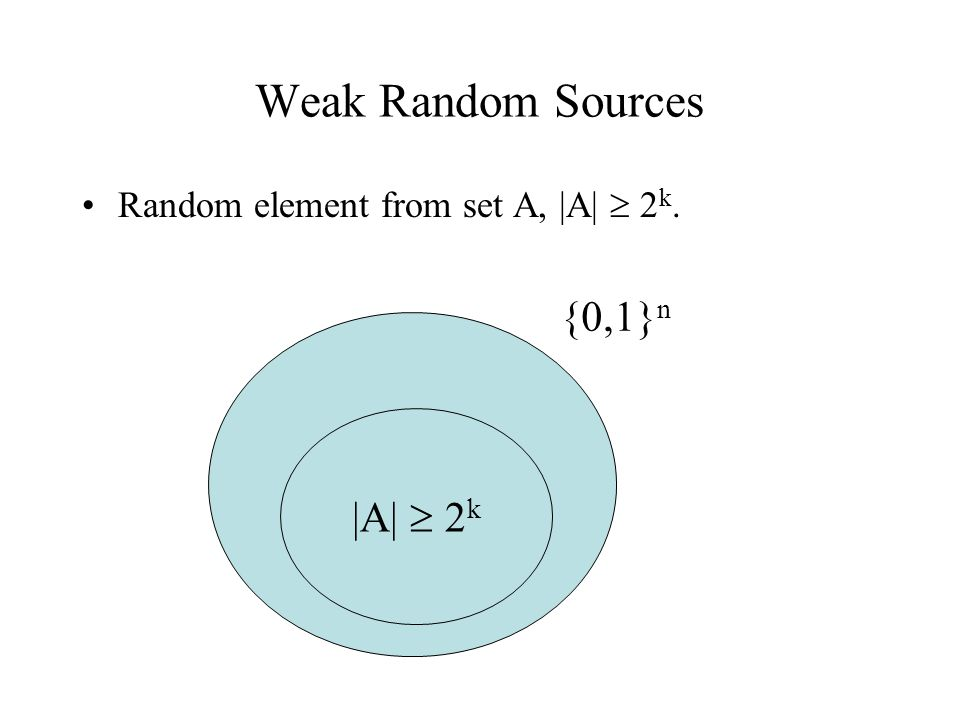Weak Random Sources Can arise in different ways: –Physical source of randomness.