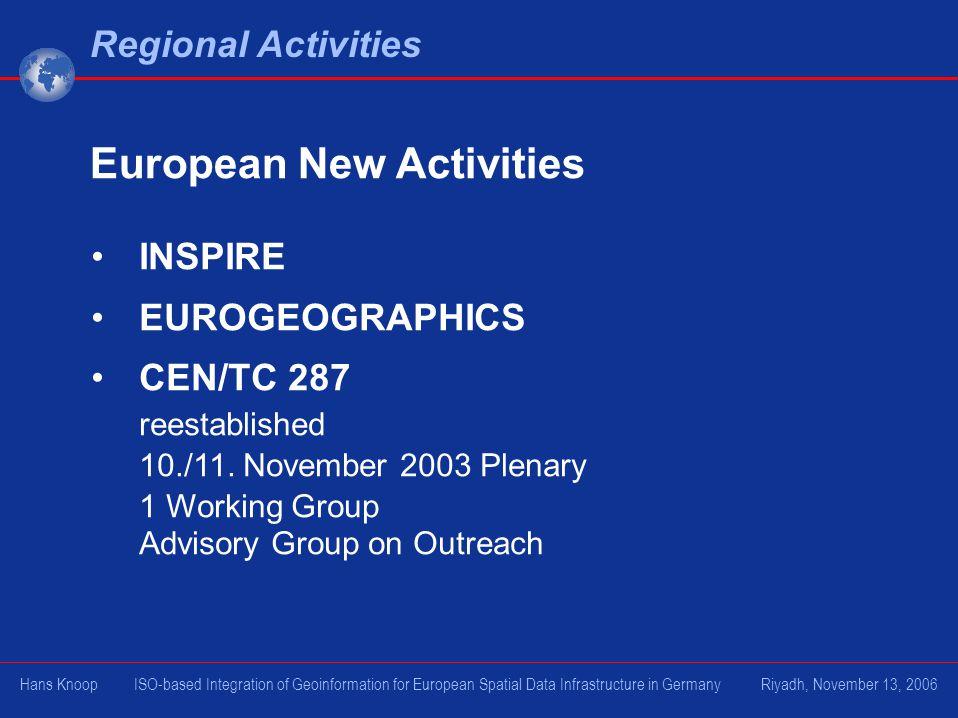 INSPIRE EUROGEOGRAPHICS CEN/TC 287 reestablished 10./11. November 2003 Plenary 1 Working Group Advisory Group on Outreach Regional Activities European