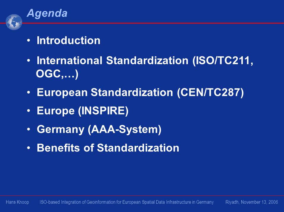 Agenda Introduction International Standardization (ISO/TC211, OGC,…) European Standardization (CEN/TC287) Europe (INSPIRE) Germany (AAA-System) Benefi