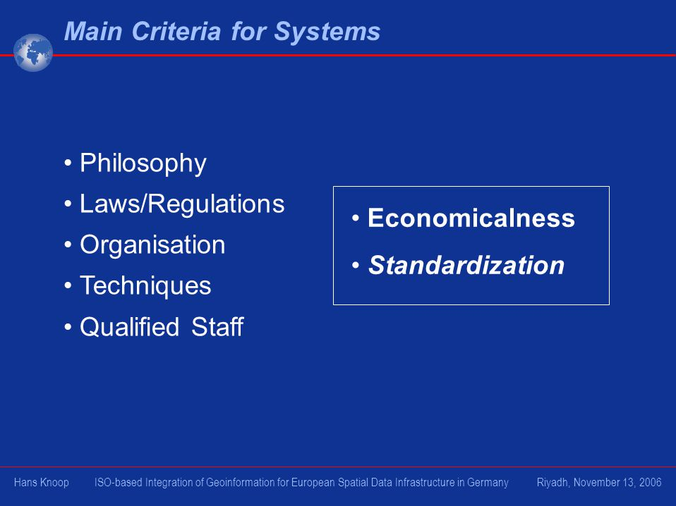 Philosophy Laws/Regulations Organisation Techniques Qualified Staff Main Criteria for Systems Economicalness Standardization Hans Knoop ISO-based Inte