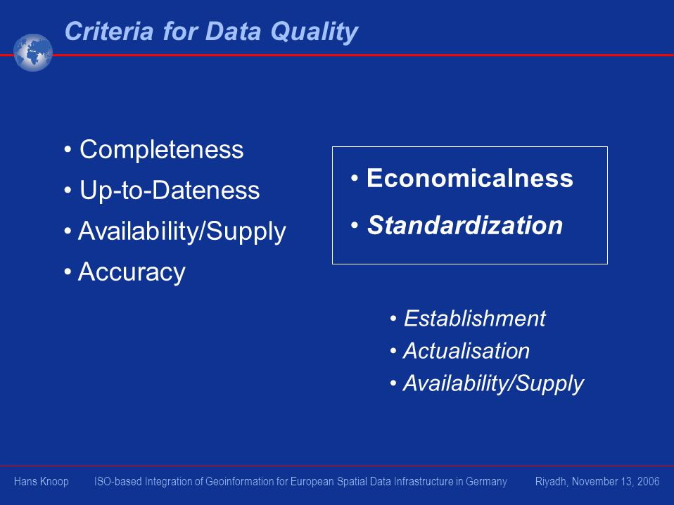Completeness Up-to-Dateness Availability/Supply Accuracy Criteria for Data Quality Economicalness Standardization Establishment Actualisation Availability/Supply Hans Knoop ISO-based Integration of Geoinformation for European Spatial Data Infrastructure in Germany Riyadh, November 13, 2006