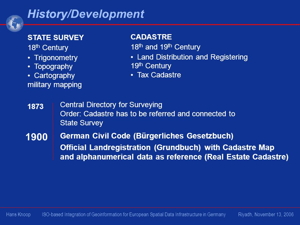 History STATE SURVEY 18 th Century Trigonometry Topography Cartography military mapping CADASTRE 18 th and 19 th Century Land Distribution and Registering 19 th Century Tax Cadastre 1873 Central Directory for Surveying Order: Cadastre has to be referred and connected to State Survey German Civil Code (Bürgerliches Gesetzbuch) Official Landregistration (Grundbuch) with Cadastre Map and alphanumerical data as reference (Real Estate Cadastre) 1900 History/Development Hans Knoop ISO-based Integration of Geoinformation for European Spatial Data Infrastructure in Germany Riyadh, November 13, 2006