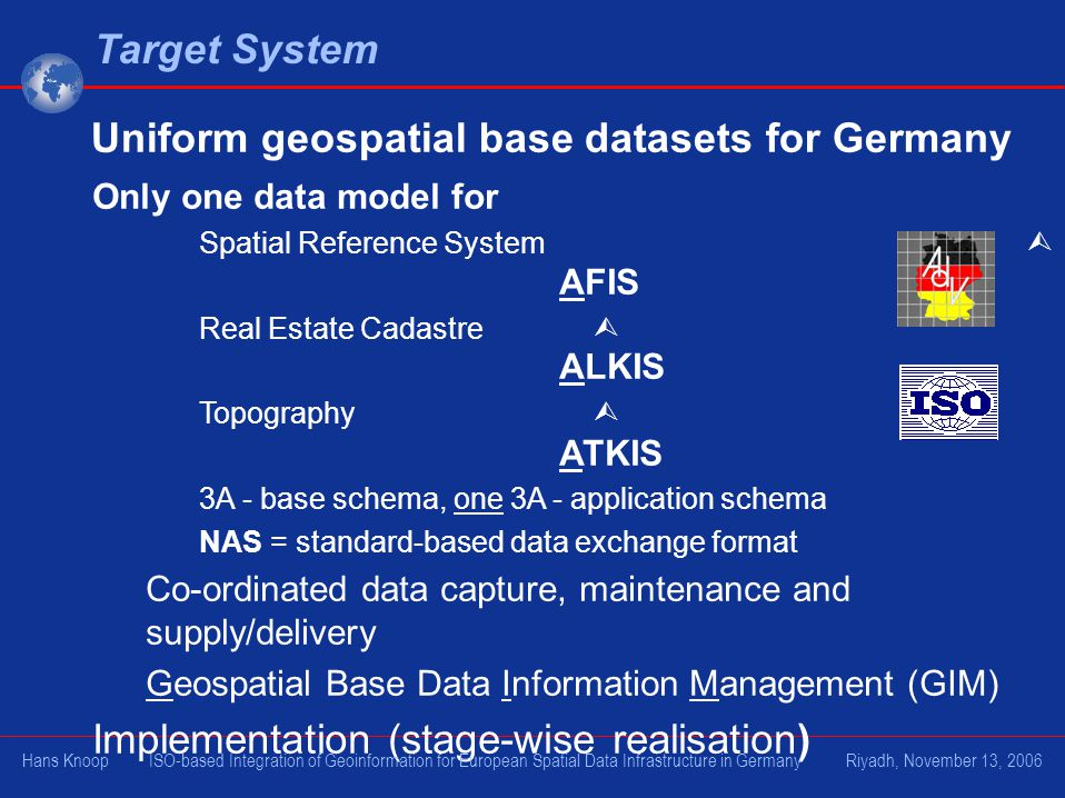 Target System Only one data model for Spatial Reference System AFIS Real Estate Cadastre ALKIS Topography ATKIS 3A - base schema, one 3A - application schema NAS = standard-based data exchange format Co-ordinated data capture, maintenance and supply/delivery Geospatial Base Data Information Management (GIM) Implementation (stage-wise realisation) Uniform geospatial base datasets for Germany Hans Knoop ISO-based Integration of Geoinformation for European Spatial Data Infrastructure in Germany Riyadh, November 13, 2006