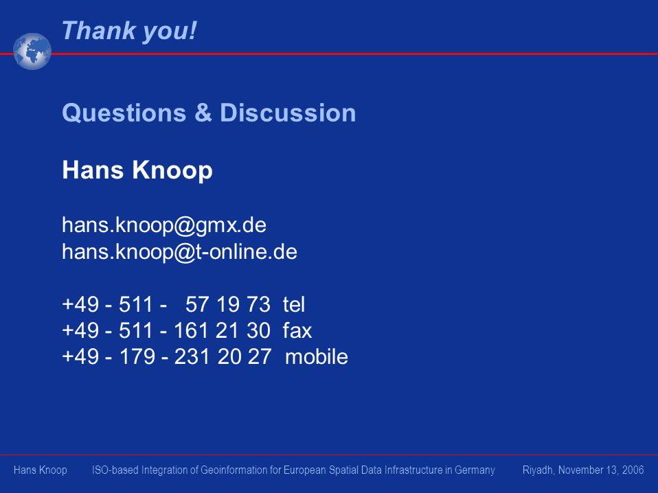 Hans Knoop hans.knoop@gmx.de hans.knoop@t-online.de +49 - 511 - 57 19 73 tel +49 - 511 - 161 21 30 fax +49 - 179 - 231 20 27 mobile Questions & Discus