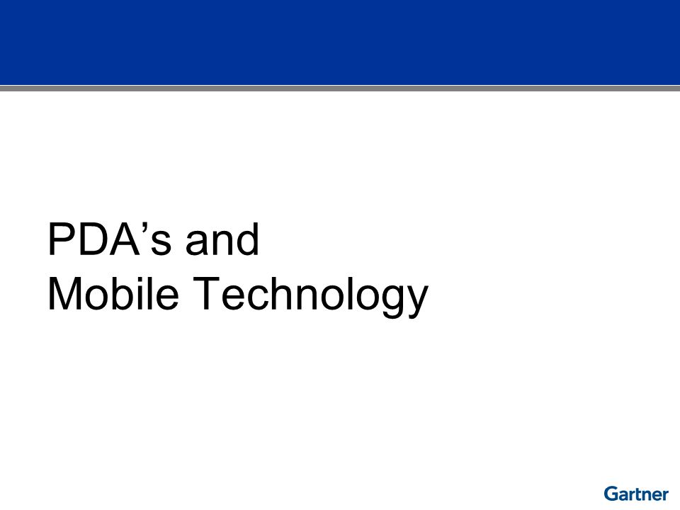 PDAs and Mobile Technology