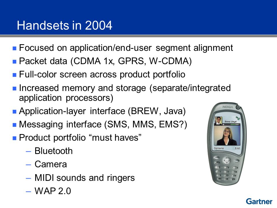 Focused on application/end-user segment alignment Packet data (CDMA 1x, GPRS, W-CDMA) Full-color screen across product portfolio Increased memory and storage (separate/integrated application processors) Application-layer interface (BREW, Java) Messaging interface (SMS, MMS, EMS ) Product portfolio must haves –Bluetooth –Camera –MIDI sounds and ringers –WAP 2.0 Handsets in 2004