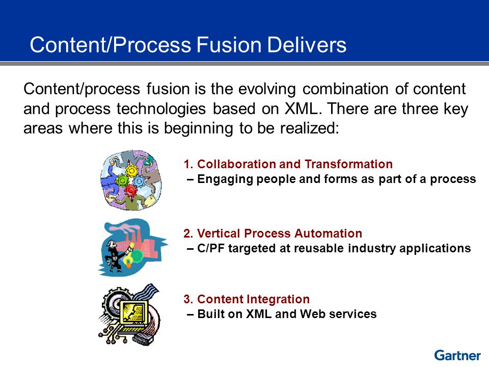 Content/process fusion is the evolving combination of content and process technologies based on XML.