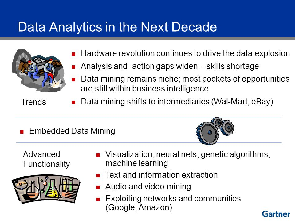 Trends Hardware revolution continues to drive the data explosion Analysis and action gaps widen – skills shortage Data mining remains niche; most pockets of opportunities are still within business intelligence Data mining shifts to intermediaries (Wal-Mart, eBay) Embedded Data Mining Advanced Functionality Visualization, neural nets, genetic algorithms, machine learning Text and information extraction Audio and video mining Exploiting networks and communities (Google, Amazon) Data Analytics in the Next Decade