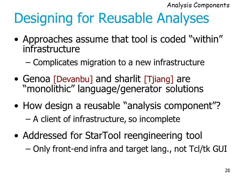 28 Designing for Reusable Analyses Approaches assume that tool is coded within infrastructure –Complicates migration to a new infrastructure Genoa [De