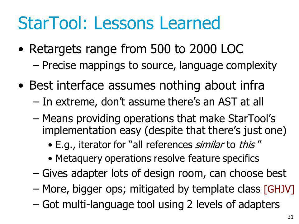 31 StarTool: Lessons Learned Retargets range from 500 to 2000 LOC –Precise mappings to source, language complexity Best interface assumes nothing abou