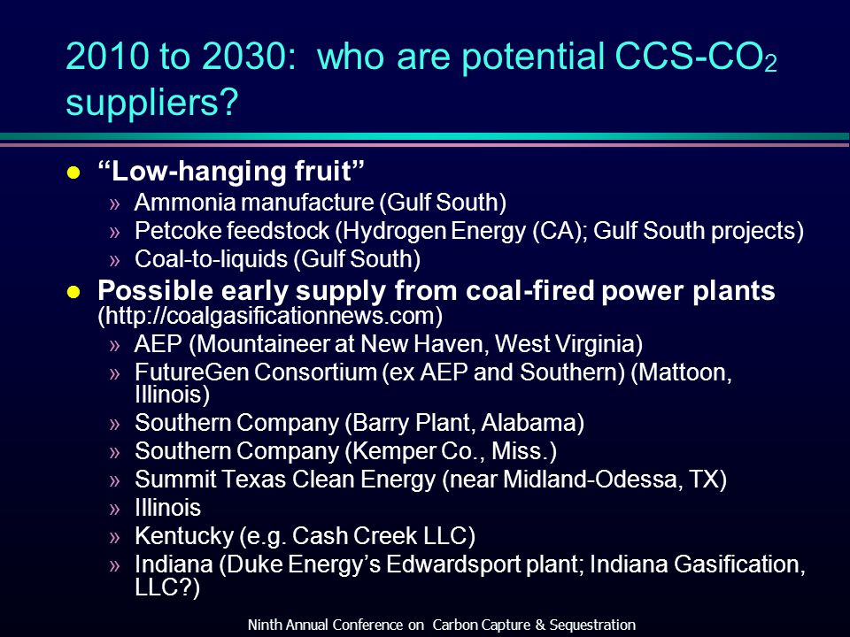2010 to 2030: who are potential CCS-CO 2 suppliers.