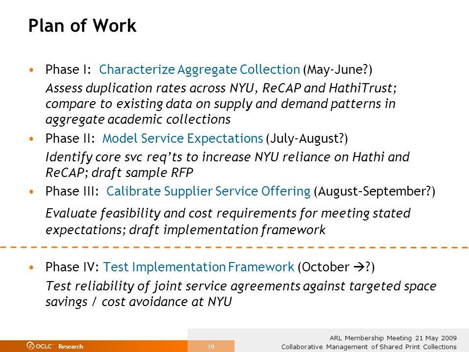Research Collaborative Management of Shared Print Collections ARL Membership Meeting 21 May 2009 19 Plan of Work Phase I: Characterize Aggregate Collection (May-June?) Assess duplication rates across NYU, ReCAP and HathiTrust; compare to existing data on supply and demand patterns in aggregate academic collections Phase II: Model Service Expectations (July-August?) Identify core svc reqts to increase NYU reliance on Hathi and ReCAP; draft sample RFP Phase III: Calibrate Supplier Service Offering (August–September?) Evaluate feasibility and cost requirements for meeting stated expectations; draft implementation framework Phase IV: Test Implementation Framework (October ?) Test reliability of joint service agreements against targeted space savings / cost avoidance at NYU