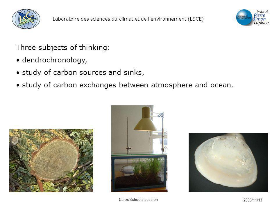 Laboratoire des sciences du climat et de lenvironnement (LSCE) 2006/11/13 CarboSchools session Three subjects of thinking: dendrochronology, study of