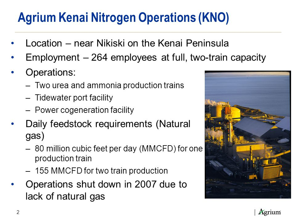 Operations: –Two urea and ammonia production trains –Tidewater port facility –Power cogeneration facility Daily feedstock requirements (Natural gas) –