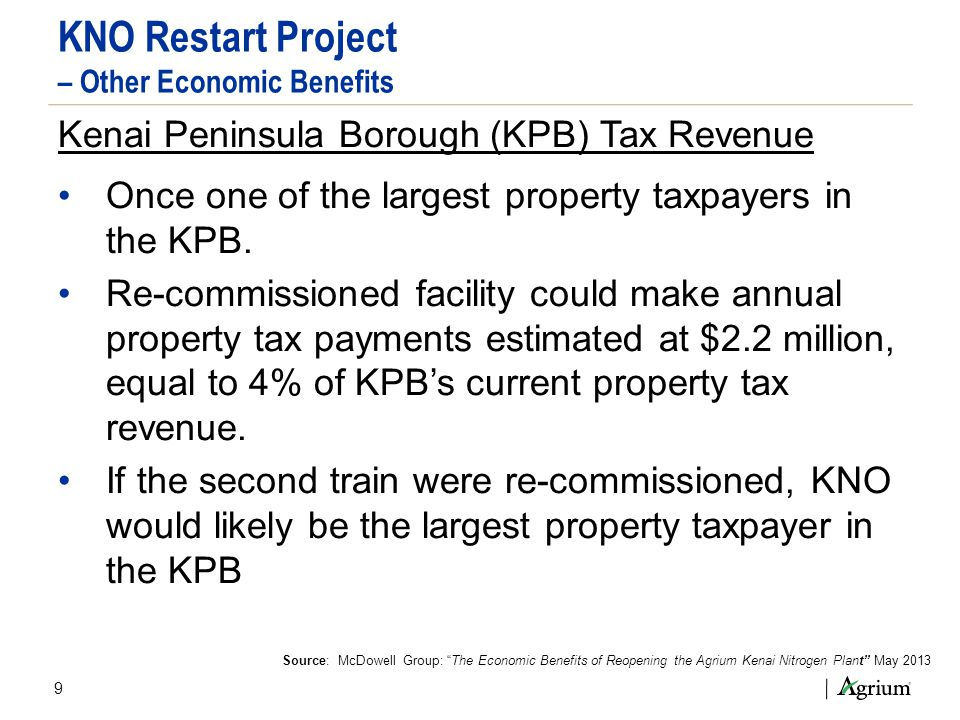 9 KNO Restart Project – Other Economic Benefits Kenai Peninsula Borough (KPB) Tax Revenue Once one of the largest property taxpayers in the KPB. Re-co
