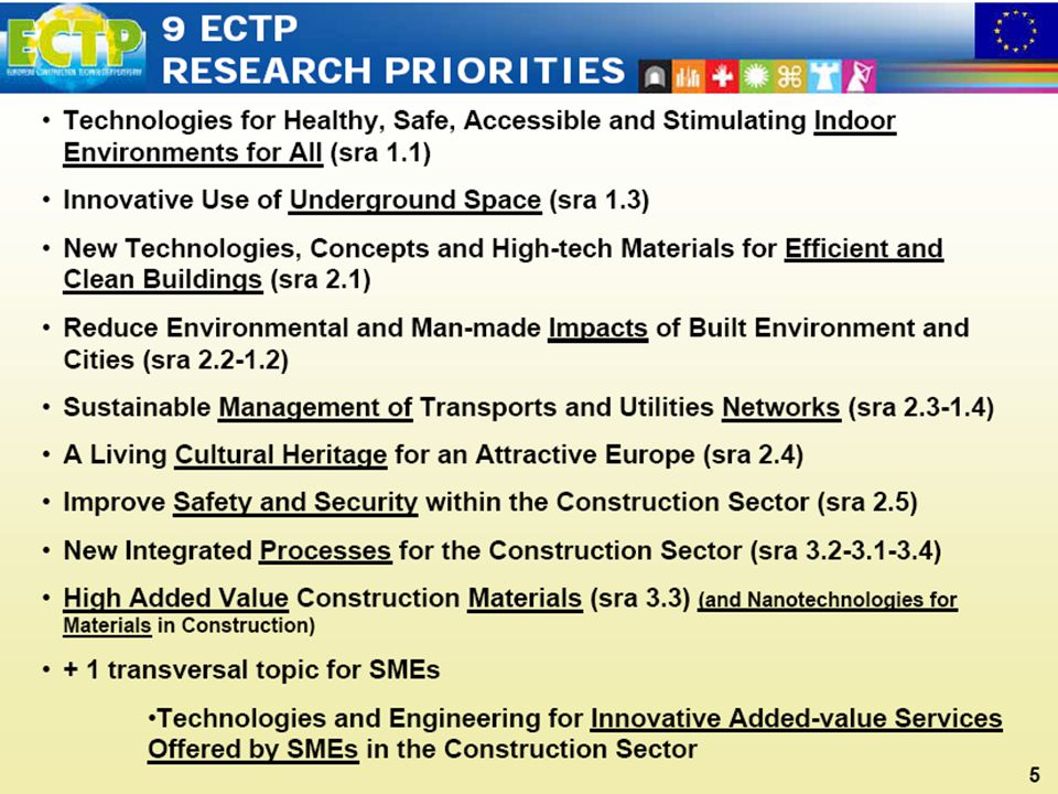 14 9 main ECTP Priorities Technologies for Healthy, Safe, Accessible and Stimulating Indoor Environments for All (sra 1.1) Innovative Use of Undergrou